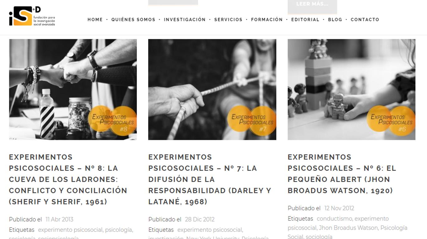 experimentos psicosociales categoría del blog de la Fundación iS+D