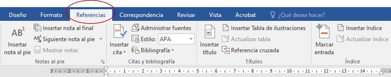 apartado Referencias en Word